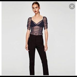 Zara blue polka dot sheer blouse